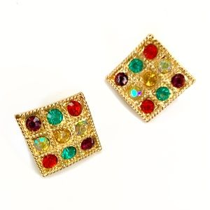Diamond shaped post multi color stone post earring
